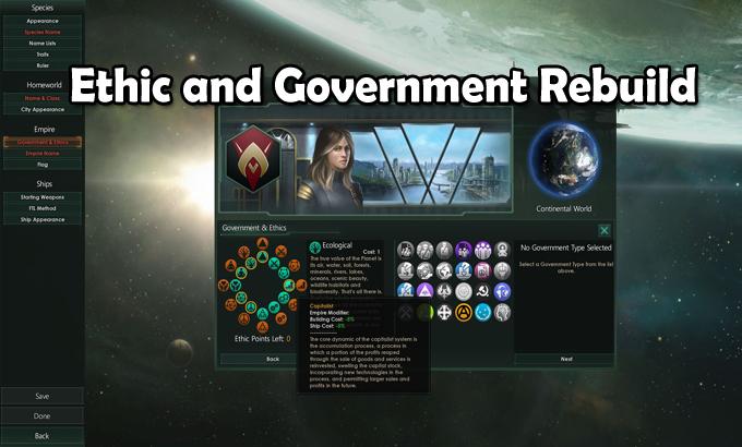 Ethic and Government Rebuild Mod - Stellaris mod